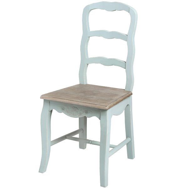 Duck Egg Blue Dining Chair - White intimacy