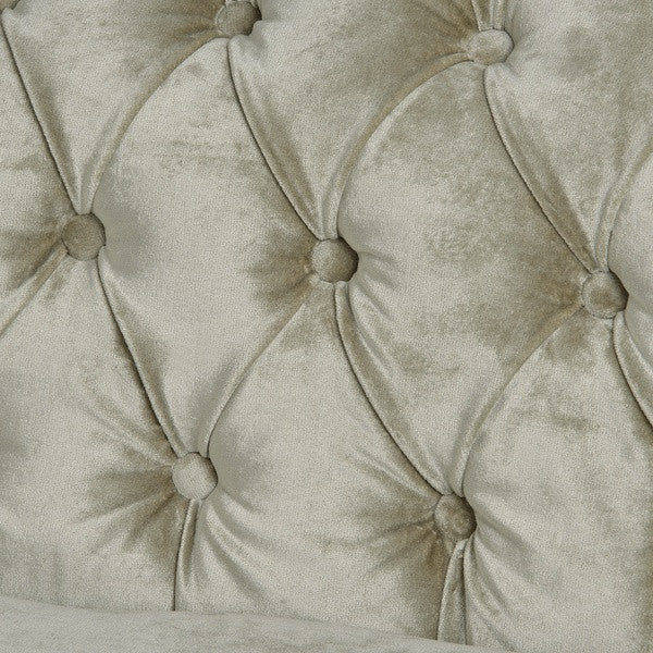Crushed Velvet Three Seater Chesterfield in Mint - White intimacy