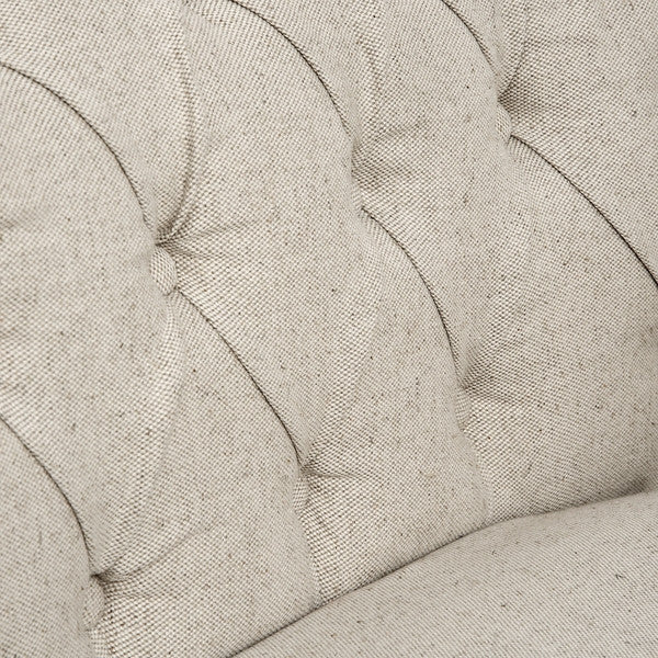 Natural Linen Chesterfield Chair