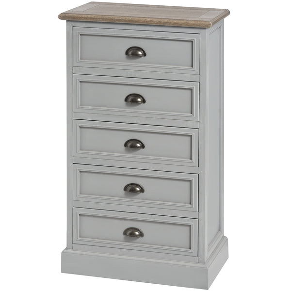 Churchill Collection Five Draw Tallboy - White intimacy