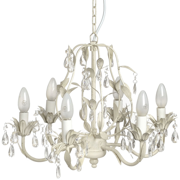 Crystal Effect Drop with Leaf Motif Chandelier - White intimacy