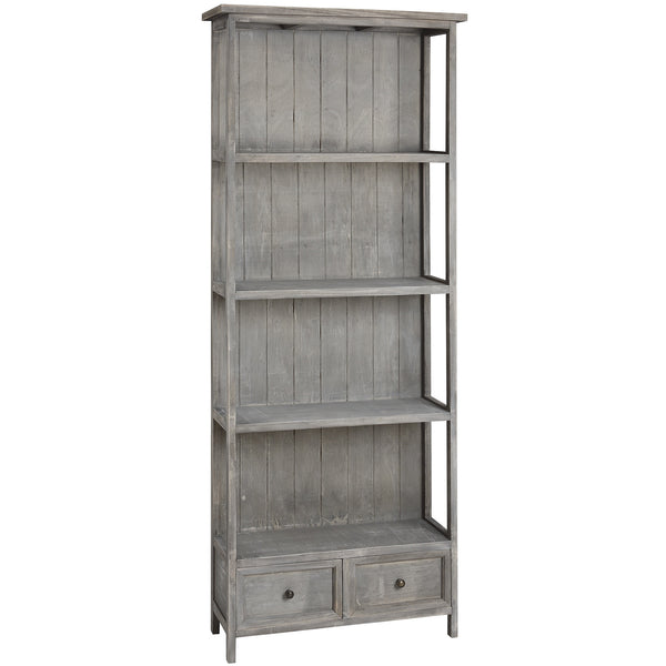 4 Shelf Potting Shed Bookcase With 2 Storage Drawers - White intimacy