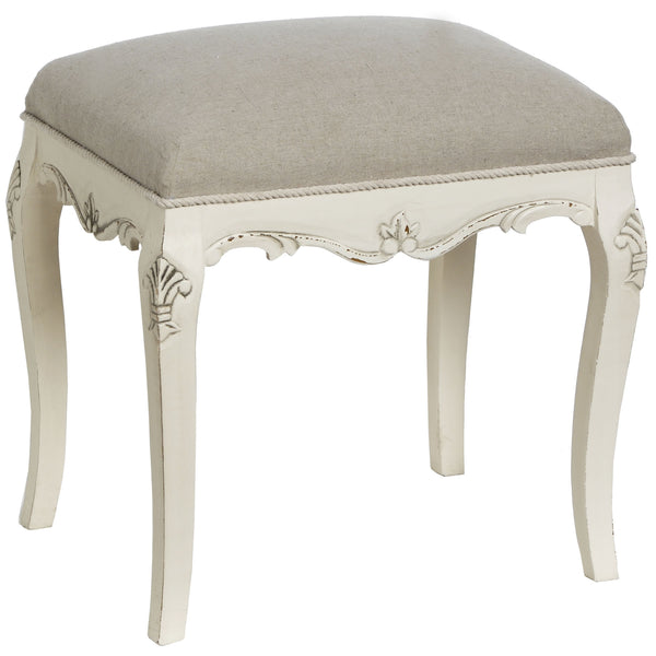 Country Dressing Table Stool - White intimacy