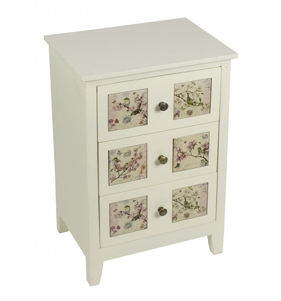 Floral Tiled 3 Drawer Chest - White intimacy
