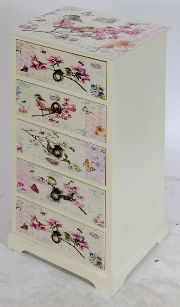 Birds & Flowers 5 Drawer Chest - White intimacy