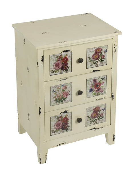 Floral Tiled 3 Drawer Chest Distressed - White intimacy