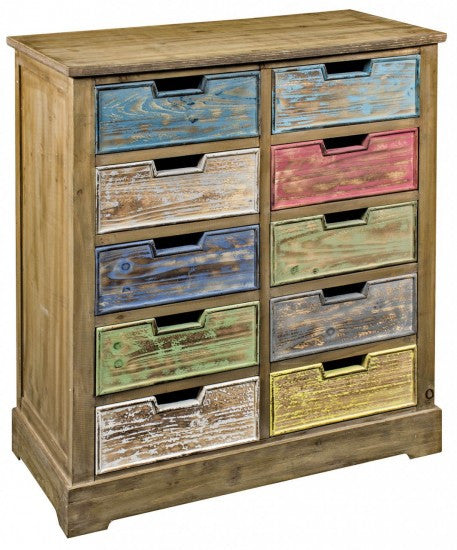 10 Drawer Wooden Cabinet Multicoloured - White intimacy