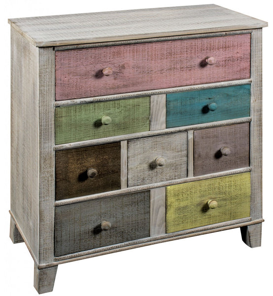 8 Drawer Wooden Cabinet Multicoloured - White intimacy