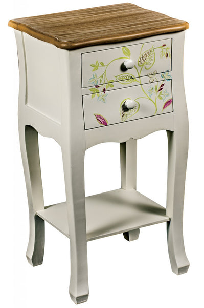 2 Drawer Bedside with Shelf - White intimacy