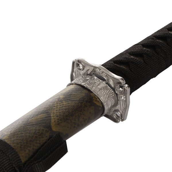 Brown Snakeskin Samurai Sword Set Of 3 With Stand