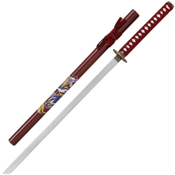 Red dragon samurai sword with stand