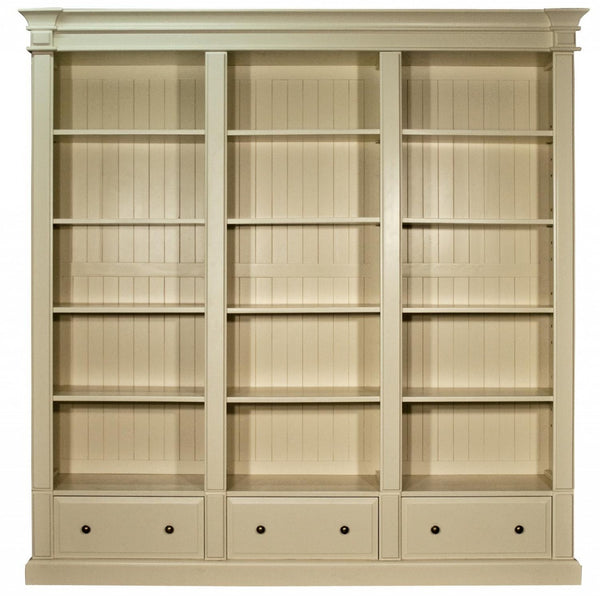 Old White Triple Bookcase