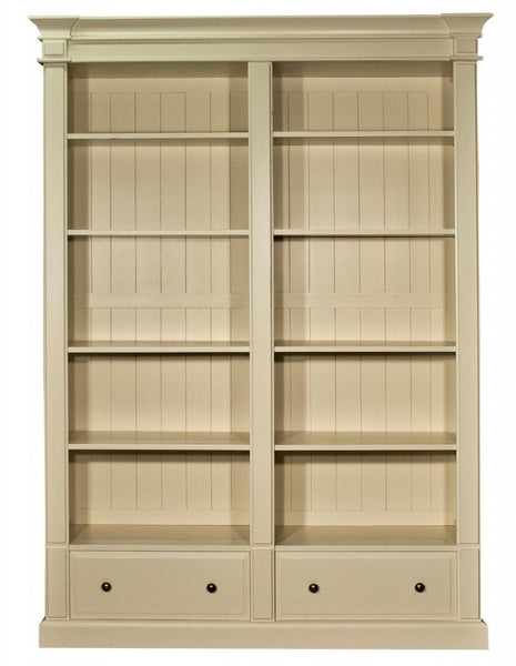 Old White Double Bookcase