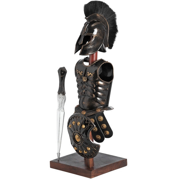 Black Troy Armour on Stand with Sword and Shield - White intimacy
