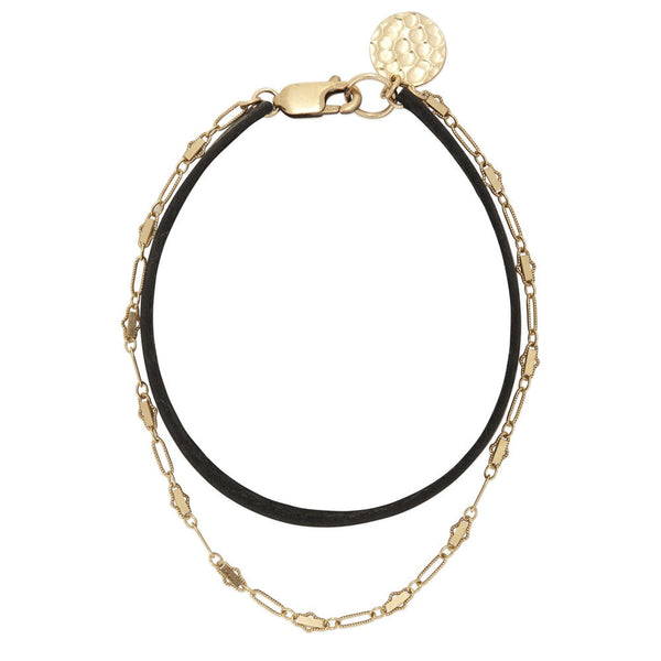 171LG S/M Gold/Black Leather Windswept Bracelet