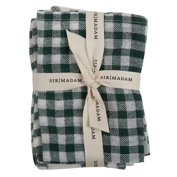 Kitchen Cloth - White/Dark Green Plaid