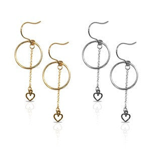 Petite Grand - Circle & Heart Earring