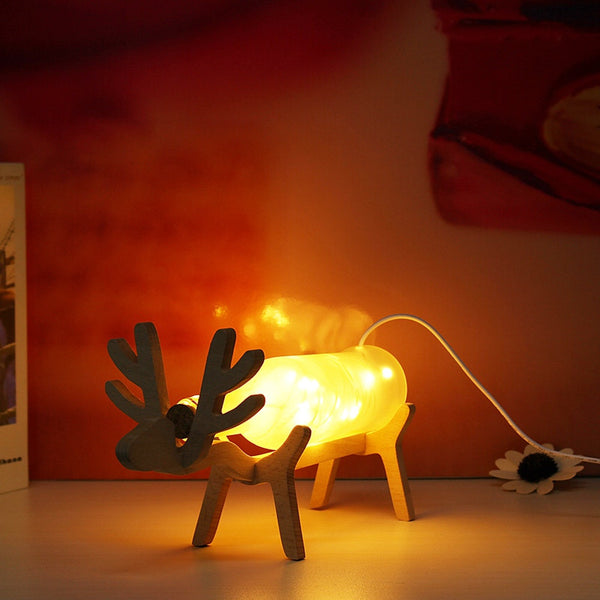 Glass Deer LED Night Light Frosted Glass