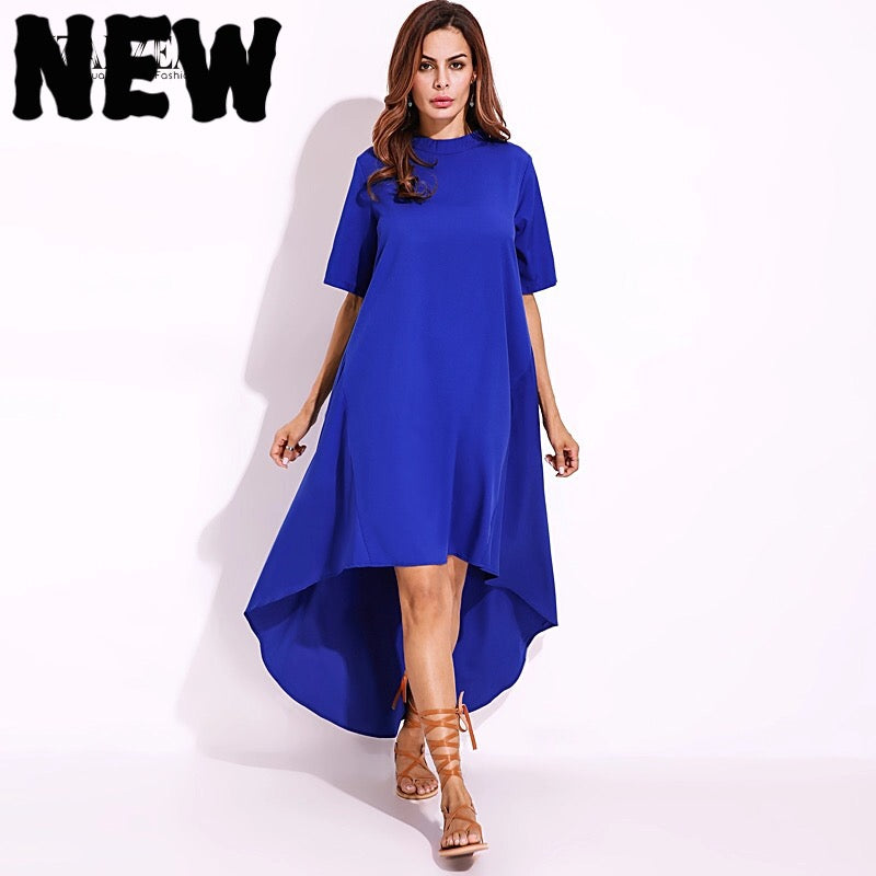 Long Dress Casual Elegant Asymmetrical Hem Tops - Samiha Apparels