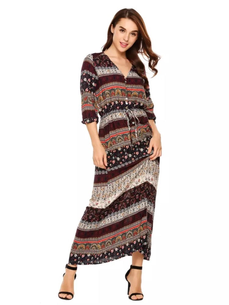 Maxi Dress Bohemian  - Trina  (Instock- New In) - Samiha Apparels