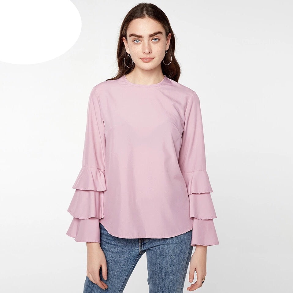 Long Flare Sleeve Flouncing Tops - Big Hearts - Samiha Apparels