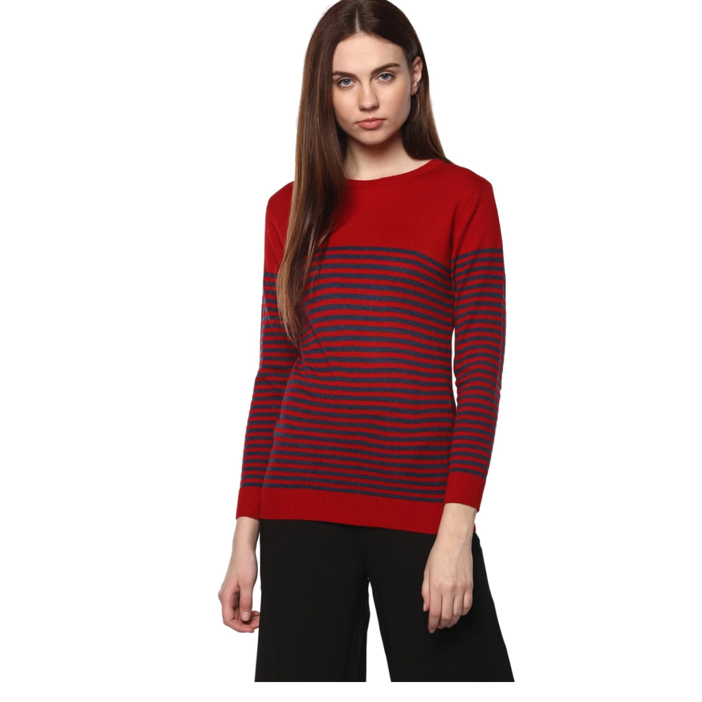 Modeve Striped Roud Neck sweater (Instock) - Samiha Apparels