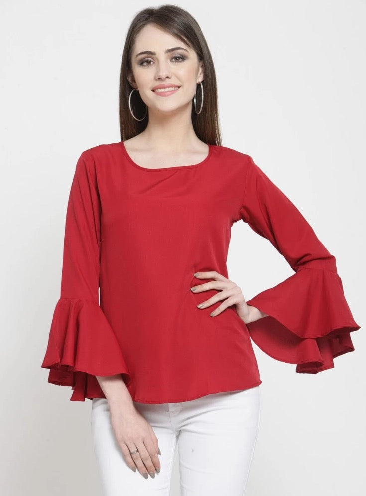 Darzi Party Bell Sleeves printed Maroon Tops(Instock) - Samiha Apparels
