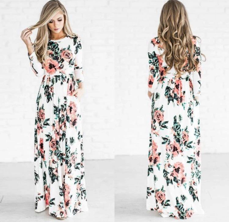 Boho Long Sleeve Floral Autumn Maxi Dress ( Instock) - Samiha Apparels