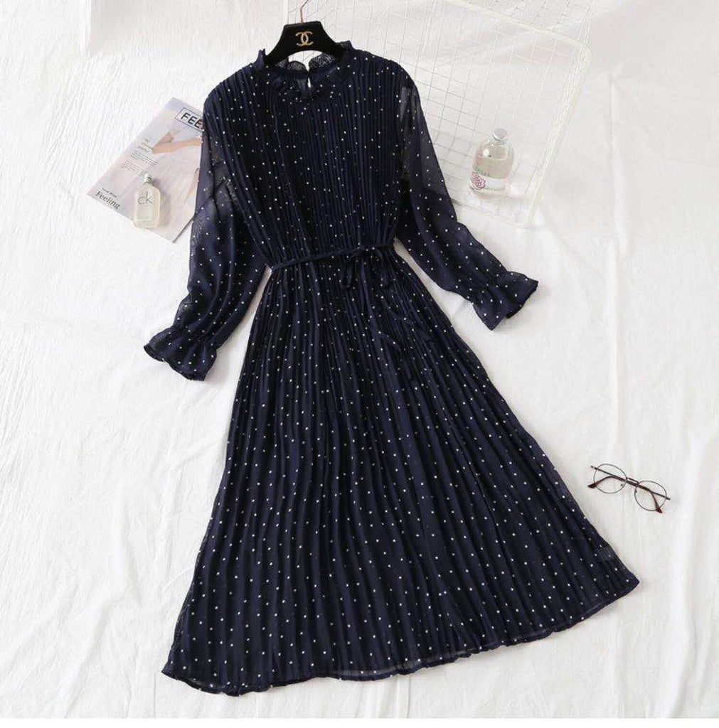 Korean Pleated  Pokka dot dress 2.0