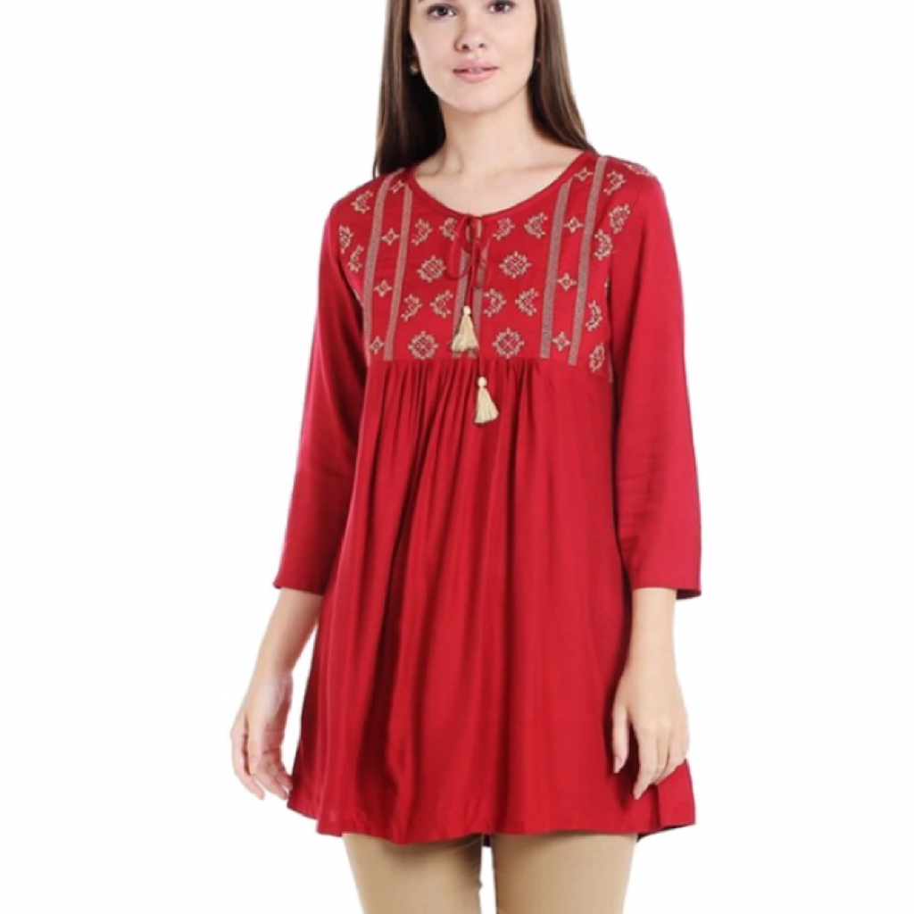 Embroidered Red Tops - Samiha Apparels