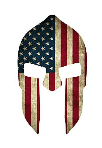 Spartan Helmet American Flag Decal on a window