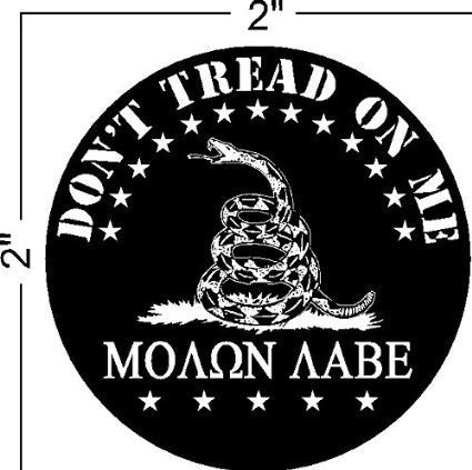 "2-Pack Don't Tread on Me, Molon Labe Patriotic Black Hat Hardhat Helmet Decal Sticker 2""W X 2""H"
