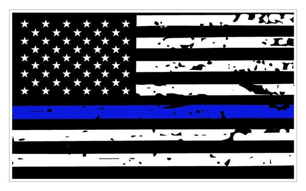 Thin Blue Line Tattered Flag Decal | 5-Inches By 3-Inches