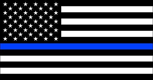 Thin Blue Line Flag Decal | 5-Inch By 3-Inch | Premium Quality Vinyl Decal