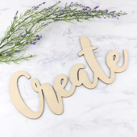 Wooden Word Sign - Create