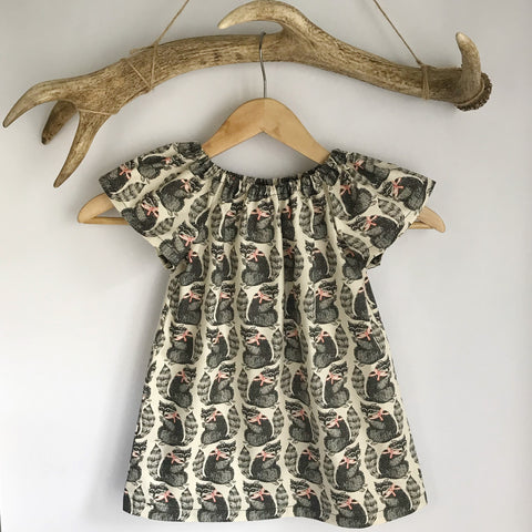 Racoon Cotton Toddler Dress