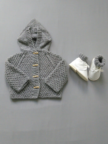 Grey Hand Knit Hooded Cardigan And Socks