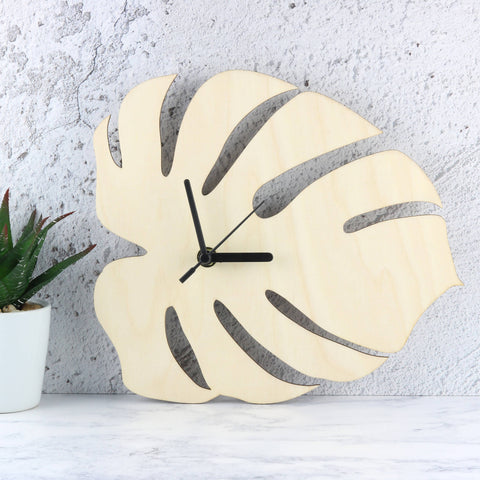 Decorative Wall Clock - Monstera Leaf