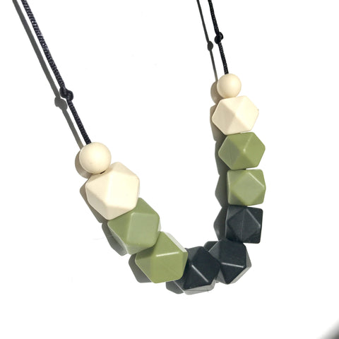 Silicone Teething Necklace - Amy Black, Olive & Cream