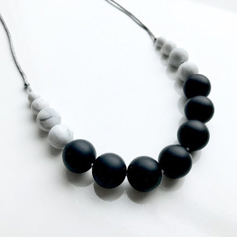 Silicone Teething Necklace - Betty Black & Marble