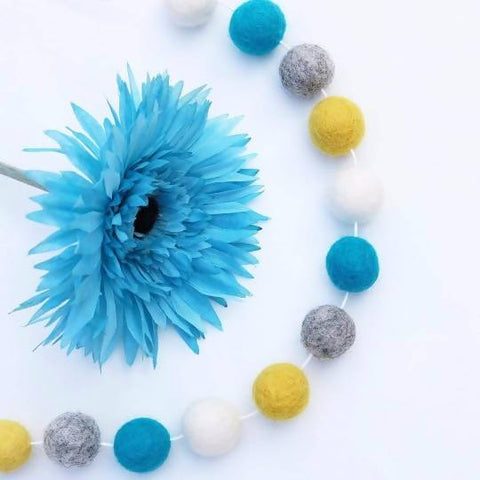 Summer Wildflowers Felt Ball Garland