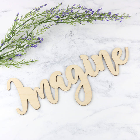 Wooden Word Sign - Imagine