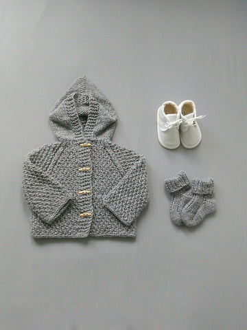 Grey Hand Knit Hooded Cardigan
