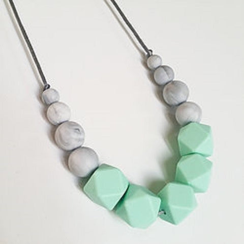 Silicone Teething Necklace - Freya Mint & Marble