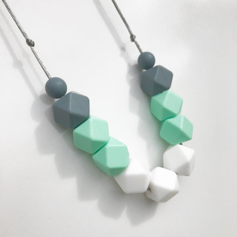 Silicone Teething Necklace - Amy White, Mint & Grey