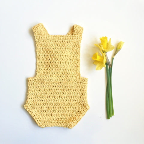 Hand Knit Yellow Cotton Romper