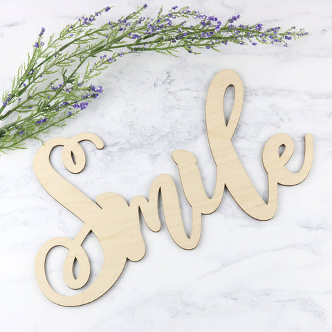 Wooden Word Sign - Smile