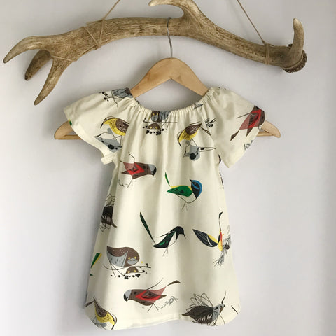 Birds cotton toddler dress