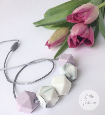 Marble & Lilac Teething Necklace