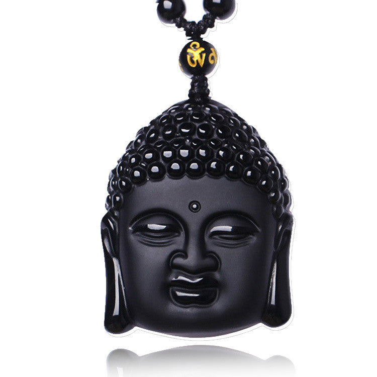 Natural Obsidian Buddha Necklace